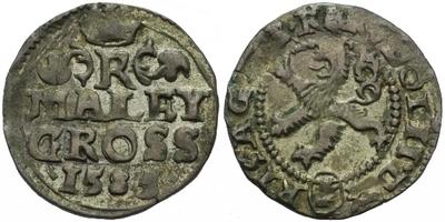 Malý groš 1585, Kutná Hora-Šatný, HN.1b