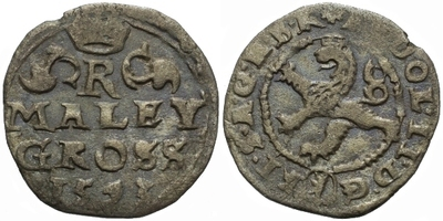 Malý groš 1593, Kutná Hora-Šatný, HN.1c
