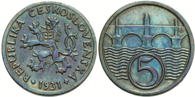 5 haléř 1931, pěkná patina