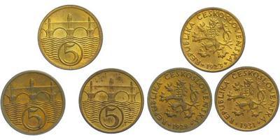5 Haléř - 1923,1929,1931, celkem 3 ks