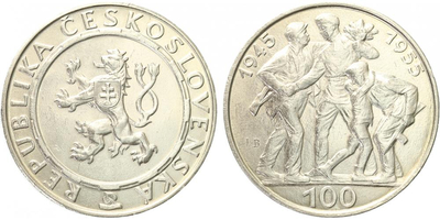 100 Koruna 1955 - 10. výročí osvobození Československa, var. A