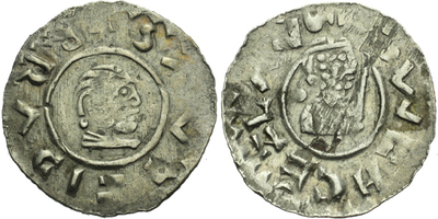 Denár, C.390b, za poprsím tečka