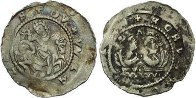 Denár, C.597 var., mezi hlavami písmeno R