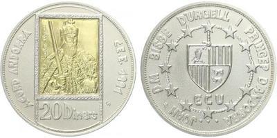 20 Dinár 1991 - Karel Veliký, Ag 0,925, 38mm (26,5 g), Au 0,917 (1,5 g), běžná kvalit