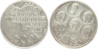 500 Frank - 1980, postříbřený mědinikl, 150. výročí nezávislosti, 38 mm, (25 g)