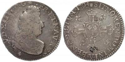 Francie, Louis XIV., 1/2 Ecu 1704 V, Troyes