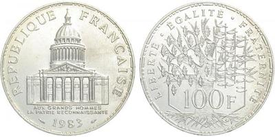 Francie, 100 Frank 1983, Ag 0,900, 31 mm (15 g)
