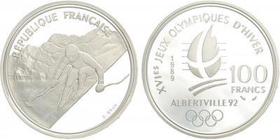 Francie, 100 Frank 1989 - OH Albertville 1992, Ag 0,900, 37 mm (22,2 g)