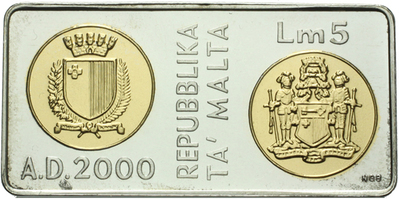 5 Liri 2000 - Millennium, plastová etue, Ag 0,925, 40 x 20 mm, (15,0 g), PROOF