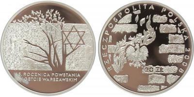 20 Zlotý 2008 - Povstání ve varšavském Ghetu, Ag 0,925, 38 mm (28,28 g), PROOF