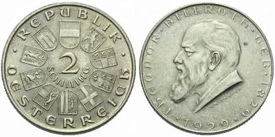 Rakousko, 2 Schilling 1929 - 10. výročí narození Dr. Theodora Billrotha