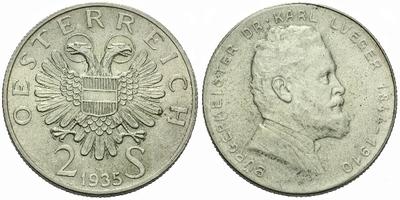 Rakousko, 2 Schilling 1935 - 25. výročí úmrtí Dr. Karla Luegera