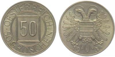 Rakousko, 50 Groš 1934