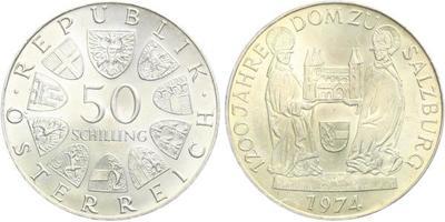 Rakousko, 50 Schilling 1974 - 1200 let od postavení katedrály v Salzburgu
