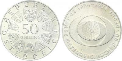 Rakousko, 50 Schilling 1974 - 50 let rakouského vysílání