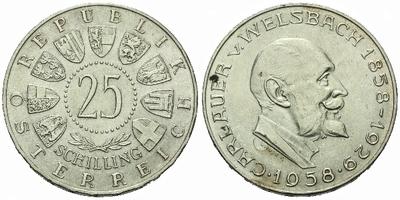 Rakousko, 25 Schilling 1958 - 100. výročí narození Aurela von Welsbach