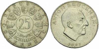 Rakousko, 25 Schilling 1962 - Anton Bruckner