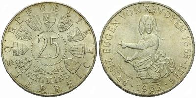Rakousko, 25 Schilling 1963 - 300. výročí narození prince Eugena