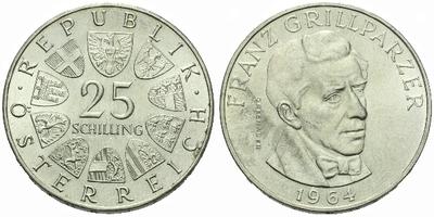 Rakousko, 25 Schilling 1964 - Franz Grillparzer