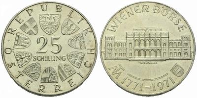 Rakousko, 25 Schilling 1971 - 200. výročí Vídeňské burzy