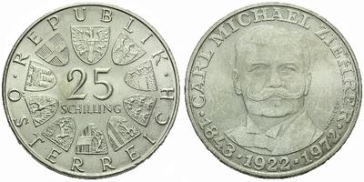 Rakousko, 25 Schilling 1972 - 50. výročí úmrtí Carla M. Ziehrera