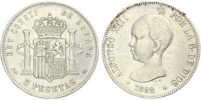 5 Peseta 1892 PGM