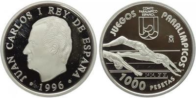 1000 Peseta 1996 - Paraolympiáda - Plavaní, dřevená etue s certifikátem a papírový př