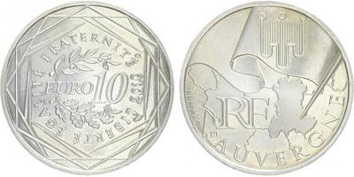 10 Euro 2010- Auvergne, Ag 0,900, 29 mm (10 g)