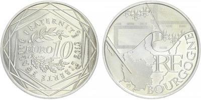 10 Euro 2010 - Bourgogne - Ag 0,900, 29 mm (10 g)