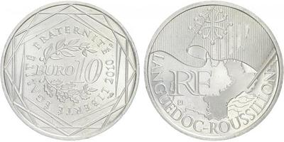 10 Euro 2010 - Languedoc - Roussillon - Ag 0,900, 29 mm (10 g)