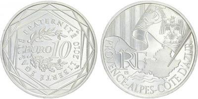 10 Euro 2010 - Provence - Alpes - Cote D'Azur - Ag 0,900, 29 mm (10 g)