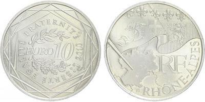 10 Euro 2010 - Rhone - Alpes - Ag 0,900, 29 mm (10 g)