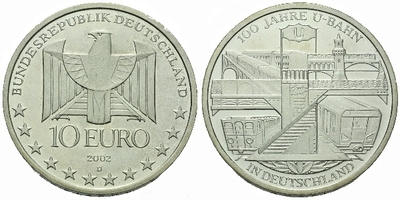 10 Euro 2002 - 100 let podzemní dráhy v Berline, Ag 0,925, 32,5 mm (18,00 g)