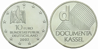 10 Euro 2002 - Výstava Documenta Kassel, Ag 0,925, 32,5 mm (18,00 g)