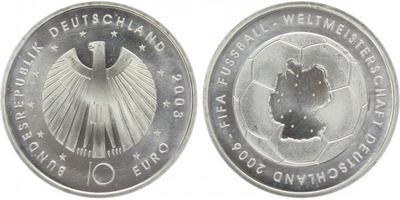 10 Euro 2003 - MS ve fotbale Německo 2006, Ag 0,925, 32,5 mm (18,00 g)
