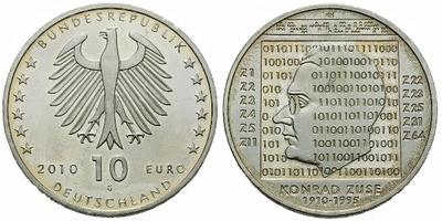 10 Euro 2010 - 100. výročí narození Konrada Zuse, Ag 0,925, 32,5 mm (18,00 g)
