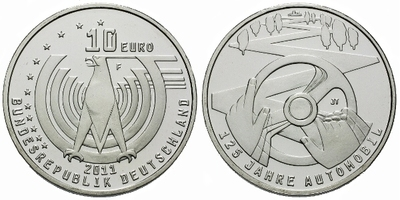 10 Euro 2011 - 125. výročí automobilu, Ag 0,625, 32,5 mm (16,00 g), PROOF