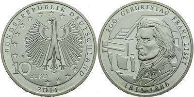 10 Euro 2011 A - 200 let od narození Franze Liszta