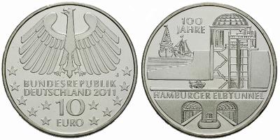 10 Euro 2011 - 100. výročí Hamburského Elbtunnel, Ag 0,925, 32,5 mm (18,00 g)