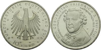 10 Euro 2012 A - 300 výročí narození Fridricha II.