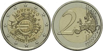 2 Euro 2012 - Společná evropská měna - 10. výročí zavedení
