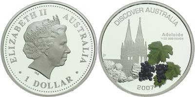1 Dollar 2007 - Discover Australia, Adelaide, Ag 0,999 (31,10 g), 1 OZ, PROOF