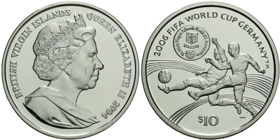 10 Dollar 2004 - 2006 FIFA World Cup Germany, Ag 0,925 (28,28 g), PROOF