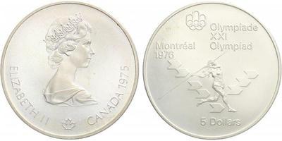 5 Dollar 1975 - Olympiáda Montreal 1976, Ag 0,925 (24,30 g)