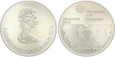 5 Dollar 1976 - Olympiáda Montreal 1976, Ag 0,925 (24,30 g)