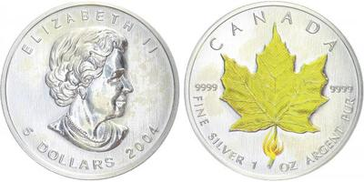 5 Dollar 2004 - Javorový list světlezelený, Ag 0,999, 1 Oz