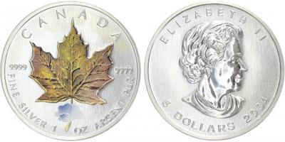 5 Dollar 2004 - Javorový list žlutohnědý, Ag 0,999, 1 Oz, skvrny v ploše