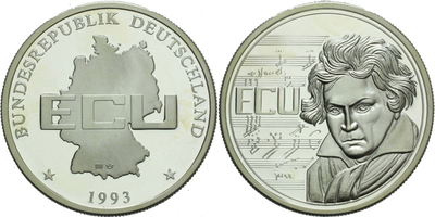 ECU 1993 - Beethoven, Ag 0,999, 40 mm (19,39 g), PROOF