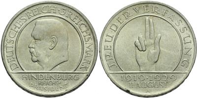 3 Marka 1929 A - 10. výročí Výmarské republiky, hrana