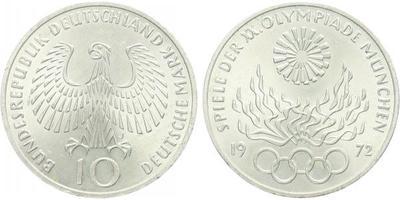 10 Marka 1972 - XX. olympijské hry v Mnichově 1972, Ag 0,625, 32,5 mm (15,5 g)